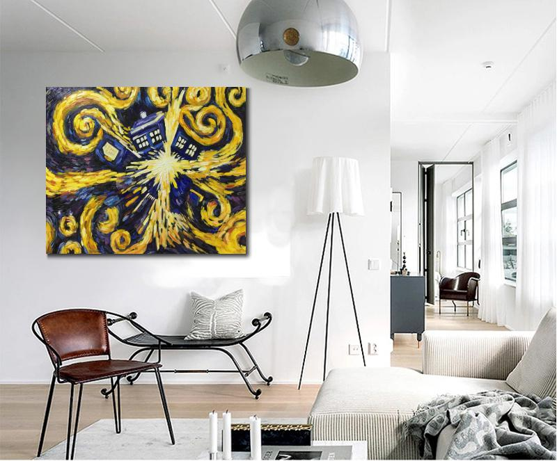 Wall art abstract oil paintings Doctor Who Exploding Tardis 100 Hand painted artwork on canvas modern picture for living room in Painting Calligraphy from Home Garden