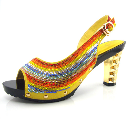 ФОТО Best Quality African Summer Shoes Women Pumps African Party Shoes yellow Color Design!!X1-16