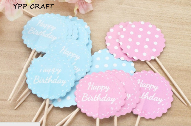 YPP CRAFT BluePink Happy Birthday Cupcake toppers decoration for