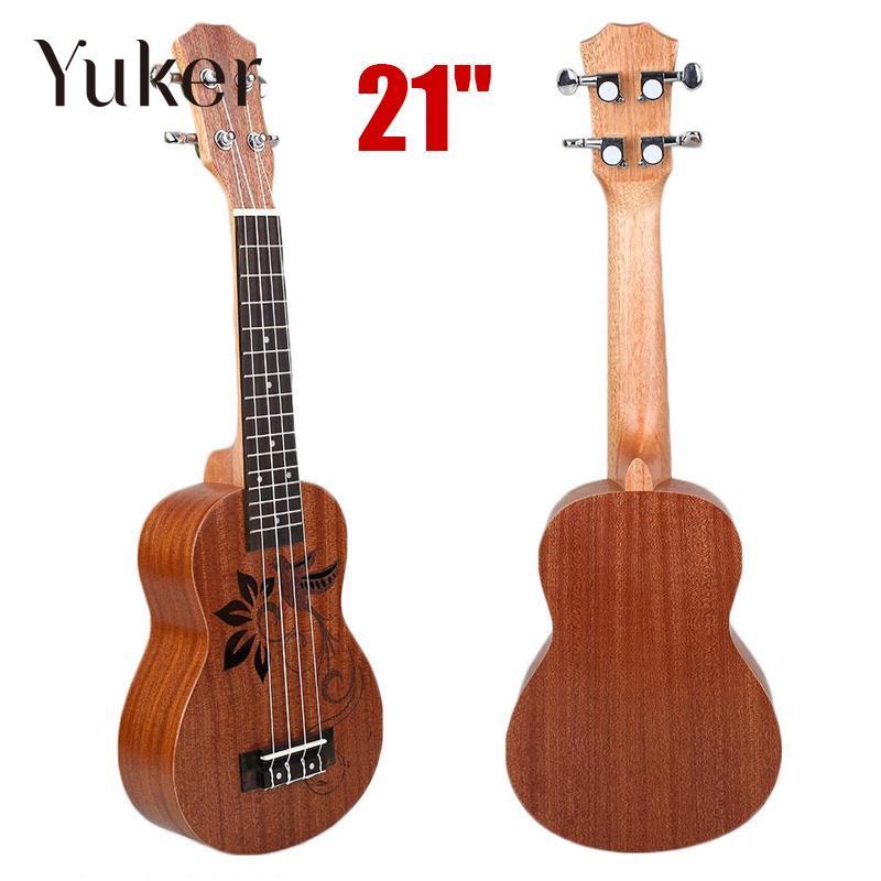 Yuker 21 Mini Sapele Ukulele Ukelele Rosewood Fingerboard Guitar Mahogany Neck Delicate Tuning Peg Nylon String Matte Kids Gift