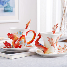 Enamel Dragon and Phoenix Coffee Mug Creative Tea Milk Cup Set Bone China 3D Color Porcelain Saucer Spoon Drinkware