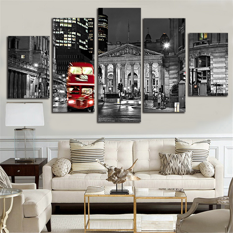 London Bus Paintings Canvas 5 Piece Wall Pop Art 5 Panel Combined Picture Home Decoration Poster and Prints Photograpy P