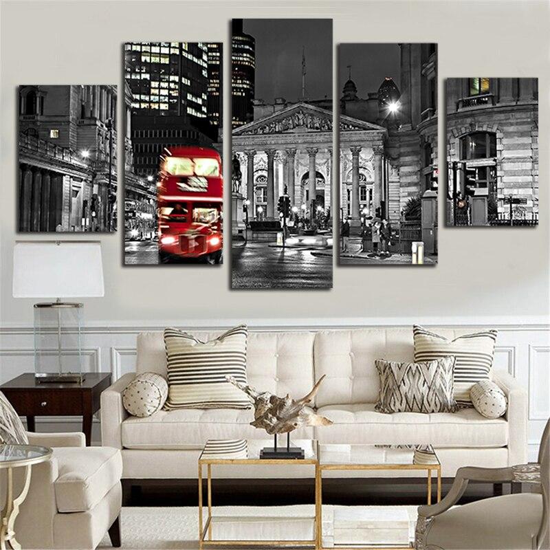 Londres Bus peintures toile 5 pièce mur Pop Art 5 panneau combiné photo décoration de la maison affiche et impressions Photograpy P