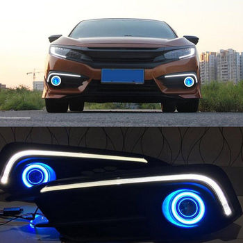 2 sztuk biała dioda LED DRL lampa do jazdy niebieski Halo projektor dla Honda Civic 10th 2016