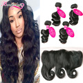 7A Peruvian Loose Wave With Frontal 4 Pcs Peruvian Loose Wave Virgin Hair Bundles With Lace Frontal Closure Human Hair Extension