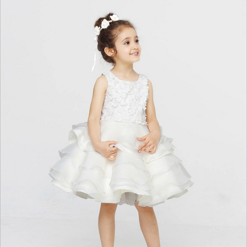Girls Children gauze tutu dress flower girl dresses for weddings princess dresses  Europe and America high grade princess wedding dress europe and america flower girl dress for girls white for 0 12 yesrs