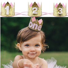 children Baby kids boys girls First 1st 1 2 3 One Two Three Years Old handmade party hat Crown Birthday baby shower Decoration