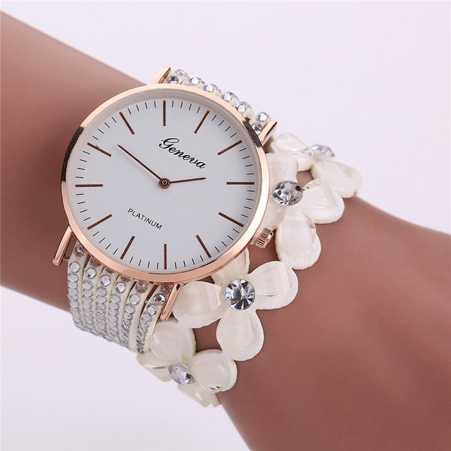 Fashion Bracelet Watch Women Leisure Quartz Watch Montre Femme Crystal Diamond W