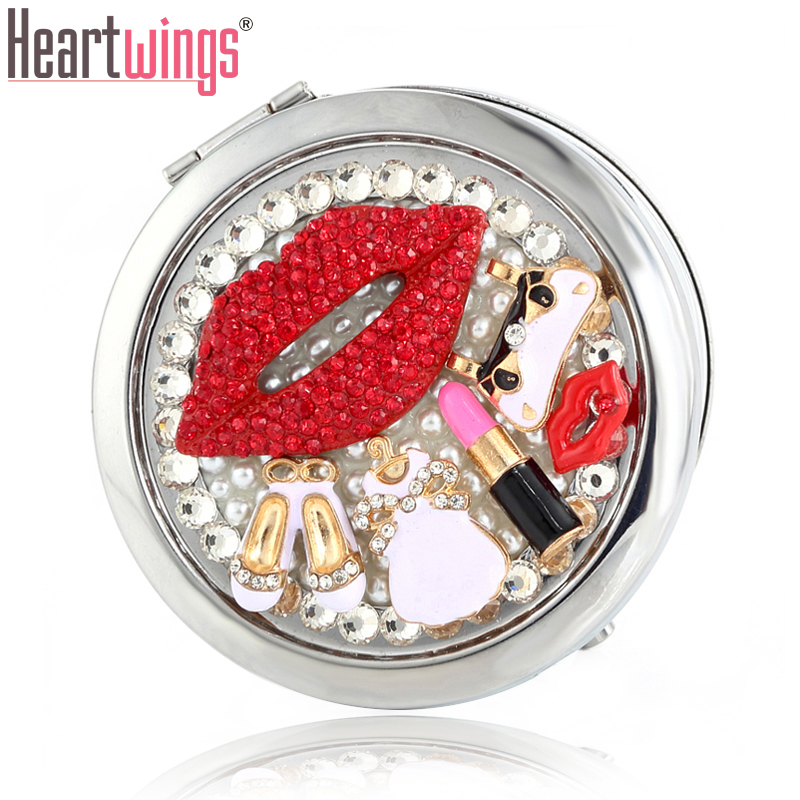 Engrave word free,bling rhinestone sexy lip handbag,Mini Beauty pocket makeup compact mirror makeup,Party present christmas gift
