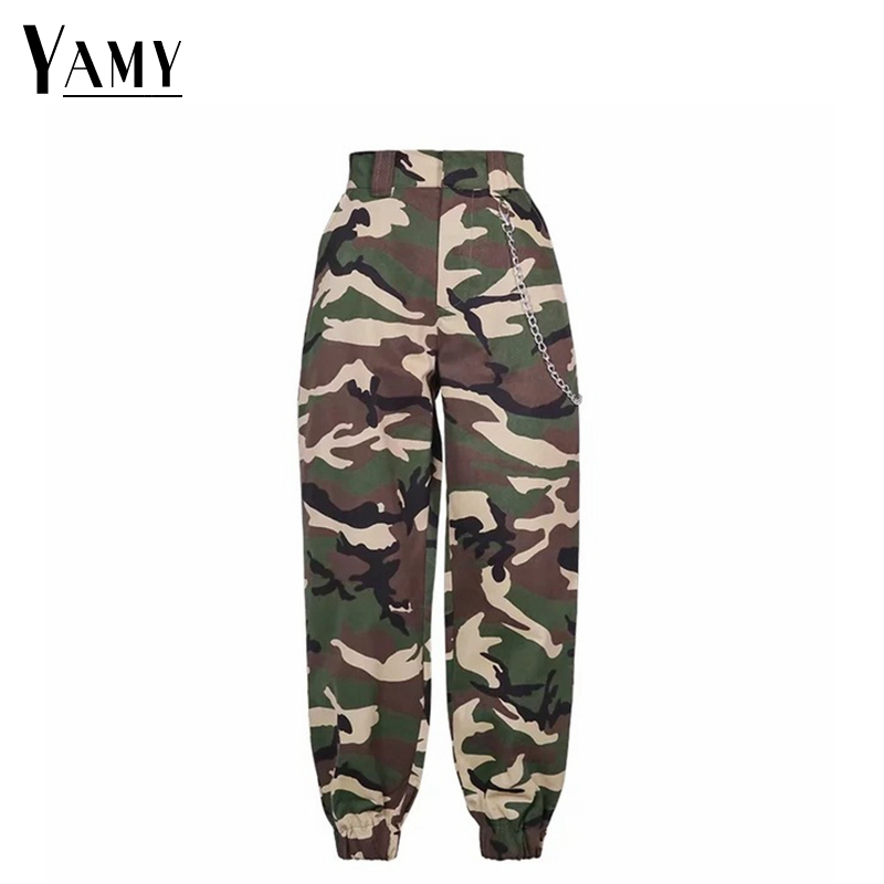 2019 New High Waist Cargo Pants Women Camouflage Sweatpants Joggers Chain Camo Pants Girls Cargo Trousers With Chain Streetwear