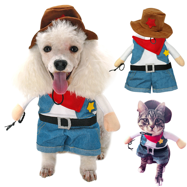 Us 449 10 Offdog Cat Clothes Halloween Costumes Pet West Cowboy Uniform Suit Puppy Clothes For Christmas Party Special Events Pet Outfit In Dog