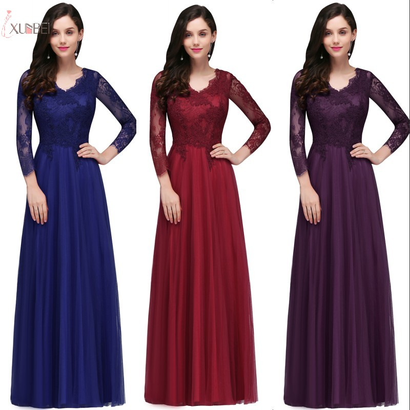 Burgundy Elegant Long   Bridesmaid     Dresses   Three Quarter Sleeve Lace Tulle Wedding Party Guest   Dress   robe demoiselle d'honneur