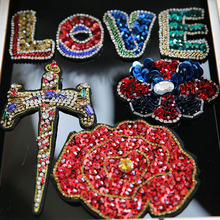 1pc 3D Handmade peony flower rhinestone beaded Patches for clothing Love letters sword sequins applique Embroidery patch floral