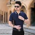 2016 поло Homme летние новый короткий рукав рубашки поло Большой размер slim-подходят плед бизнес свободного покроя человек рубашки поло высокое качество 5XL