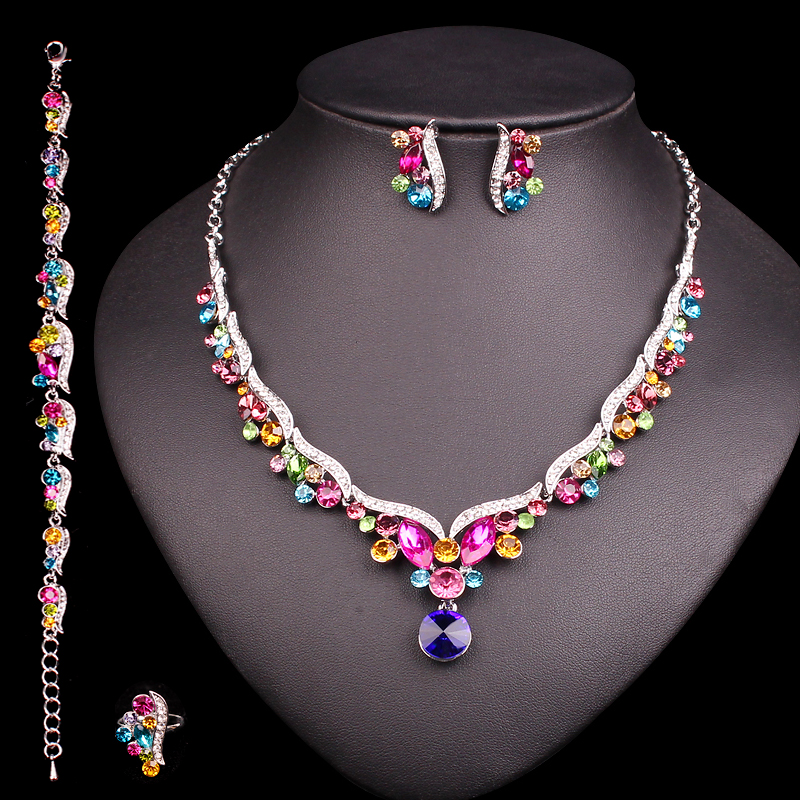 Fashion Crystal Bridal Jewelry Sets for Bride Necklace Earrings Wedding  Party Costume Jewellery Set Accessories Decoration d8b08dc4de88