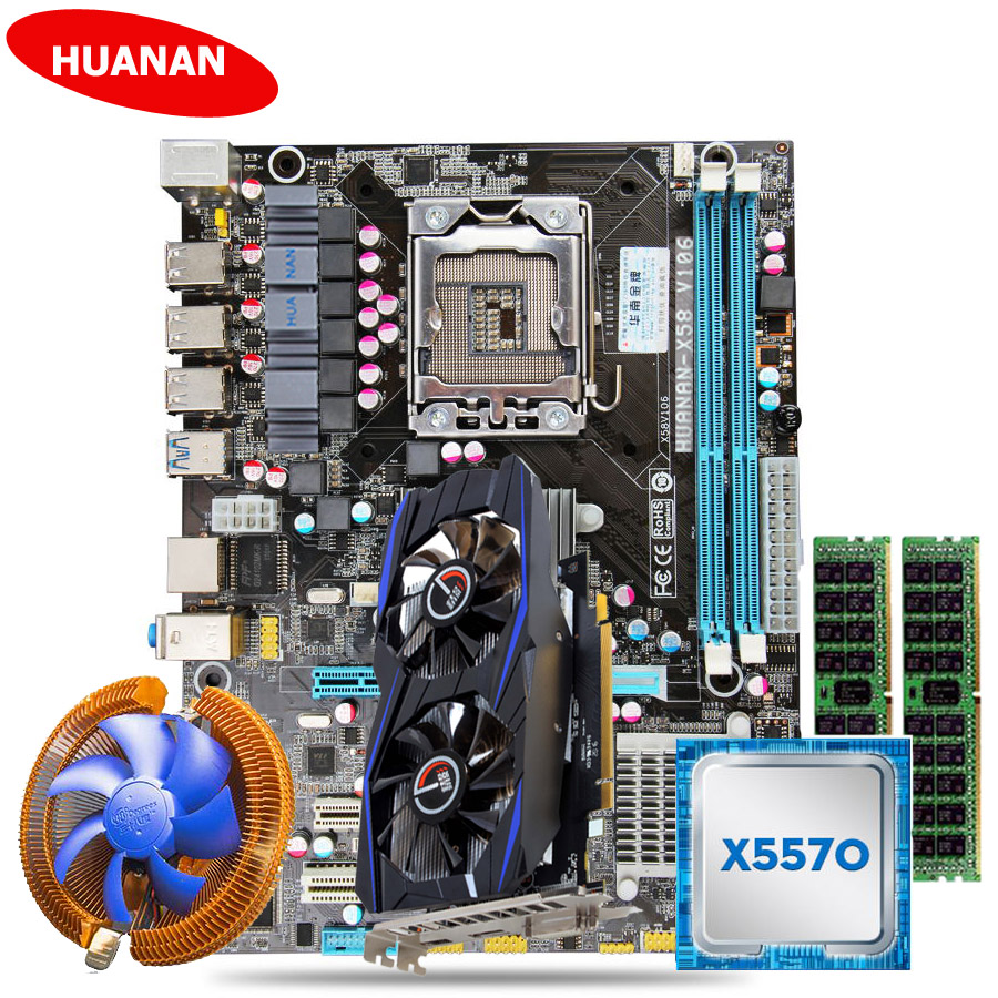 New arrival HUANAN X58 motherboard set with CPU cooler Xeon X5570 (2*8G)16G DDR3 server memory RECC GTX750Ti 2G DDR5 video card huanan v2 49 x79 motherboard with pci e nvme ssd m 2 port cpu xeon e5 2660 c2 ram 16g ddr3 recc support 4 16g memory all tested