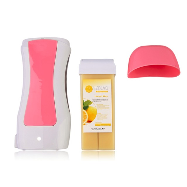 1 Pcs Depilatory Wax Heater+ 1 Pcs Wax Cartridge Roll on Depilatory Wax Hair Removal Machine Set 40W 110V/220-240V Shaving Tool