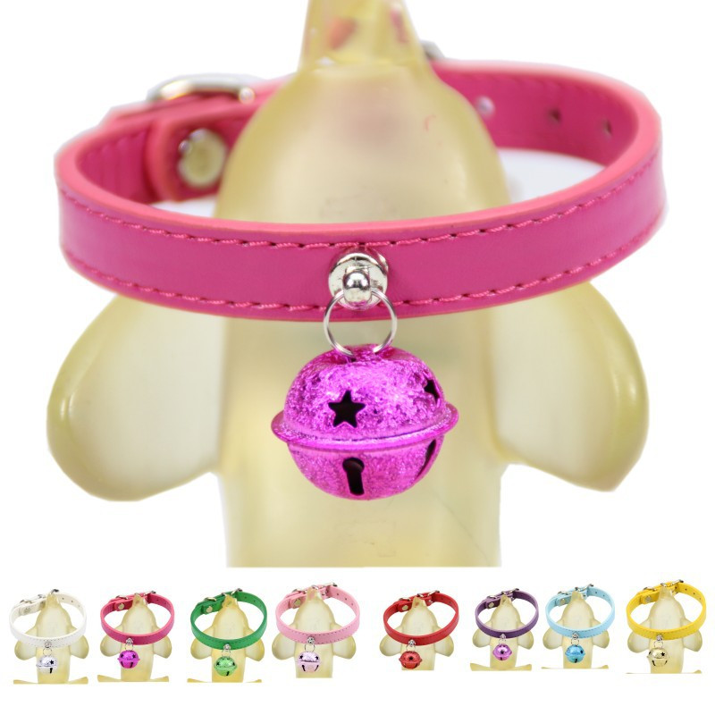 Hot Sales High Quality Size S/M/L 8 Colors Available PU Leather Sweet Dog Collar with Bell Pet Cat Collar Dog Adjustable Collars