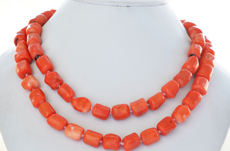 "Free Shipping 004721 natural 34"" 13x15mm massive pink coral bead NECKLACE"
