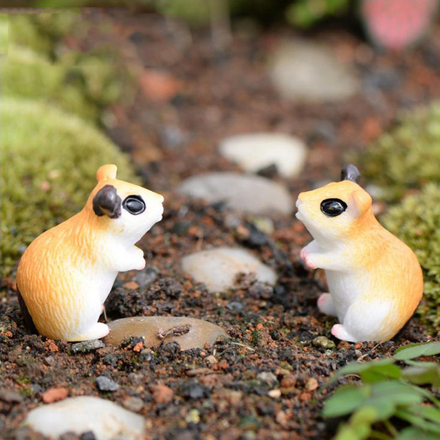Kawaii Anime Mini Hamsters Mouse Animals Home Micro Fairy Garden Figurines  Miniatures/terrarium Doll House