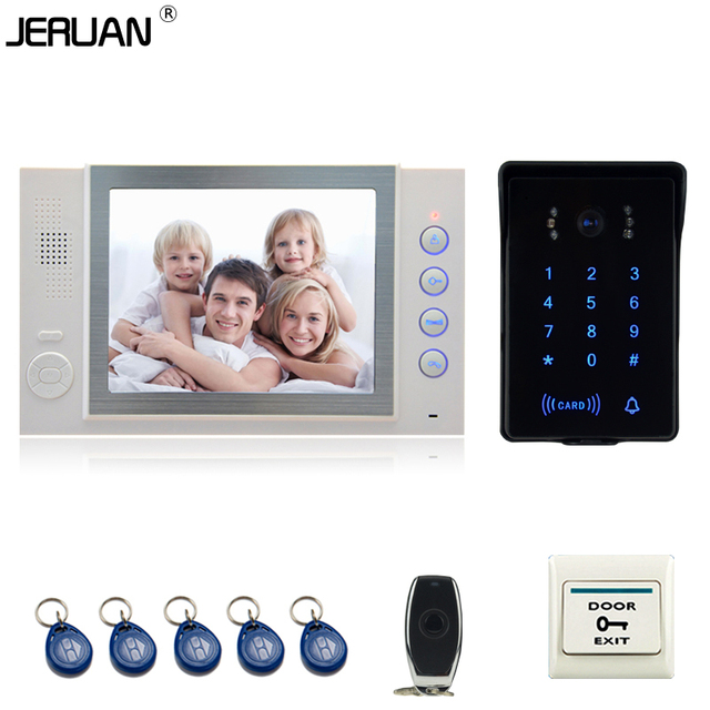 JERUAN luxury 8`` video door phone Record intercom system New RFID waterproof Touch Key password keypad camera 8G SD Card Free