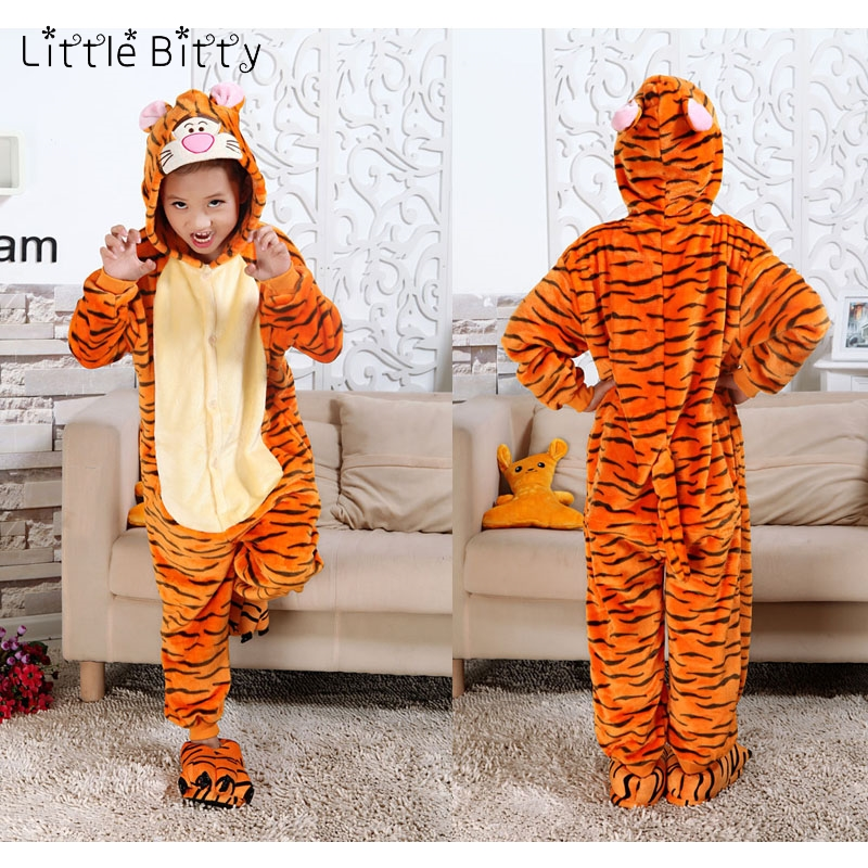 Little Bitty Animal Pajamas Children Cotton Tigger Pig Bear Cat Spiderman Kigurumi Baby Boys Girls Blanket Sleeper Kids Pyjamas(China)