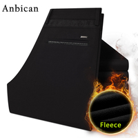 Anbican Brand 2017 Winter Mens Chinos Black Dress Pants Slim Fit Straight Cotton Long Trousers Male