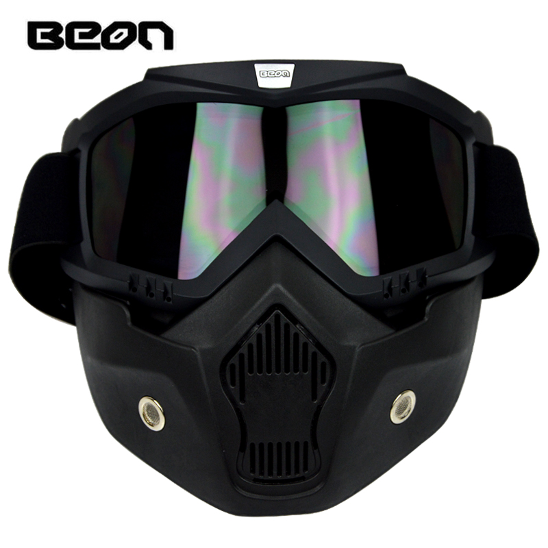 BRAND BEON Motorcycle Helmet goggles Face mask Mouth Filter vintage casque casco detachable mask