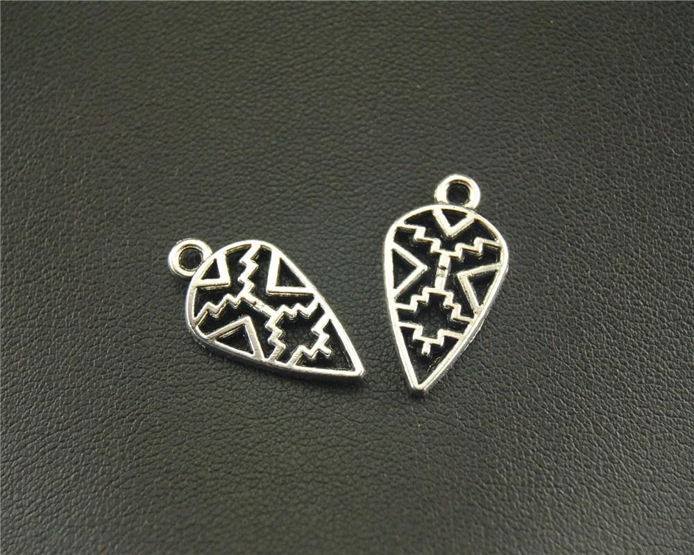 10pcs Antique Sliver Geometric Pattern Charm Fit Bracelets Necklance DIY Metal Jewelry Making 10x21mm A1517 ...