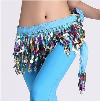 New style Belly dance costumes chiffon Leaves gold coins  belly hip scarf for women dancing belts - discount item  12% OFF Stage & Dance Wear