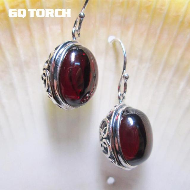 GQTORCH 925 Sterling Silver Drop Earrings For Women Vintage Hollow Flowers Design With Natural Garnet Ruby Opal Agate Stone-in Earrings from Jewelry & Accessories on Aliexpress.com | Alibaba Group