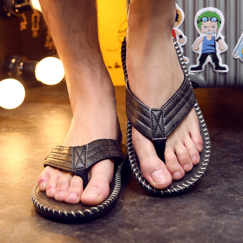 4b7b1f36ec6 Men s flip flops summer pu leather sandals and slippers feet non slip thick  sole flat shoes buty meskie DC030-in Flip Flops from Shoes on  Aliexpress.com ...