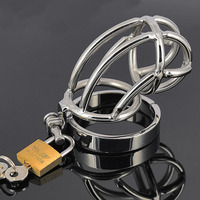 Hot new products cock cage metal stainless steel chastity cage sex products adult toys sex erotic for man penis bondage games.