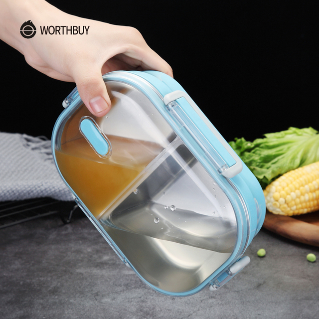WORTHBUY Japanese Portable Lunch Box For Kids School 304 Stainless Steel Bento Box Kitchen Leak-proof Food Container Food Box 2