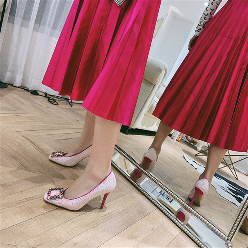 Blue Tacones Tweed Sapato Luchfive Zapatos Bombas Feminino Hebilla Fiesta Traje Sexy De pink Cuadrada Rhinestone 2019 Punta Mujeres Mujer zwTSz8q