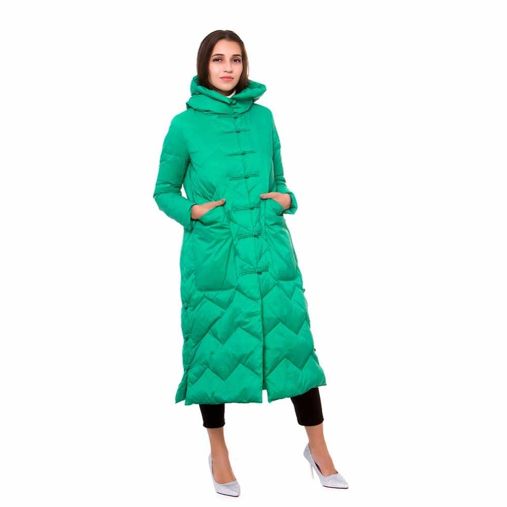 9cf879023 Women's Down Jackets Coats Winter Jacket Big Pockets Retro Hooded Thick  Loose Single Breasted Parkas Outwear Long Down Coats