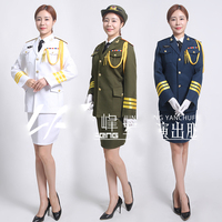 Blue White Green China guard hornist art costumes Flag raising ceremony Suits Army drummer clothing Military honor Uniform Dress