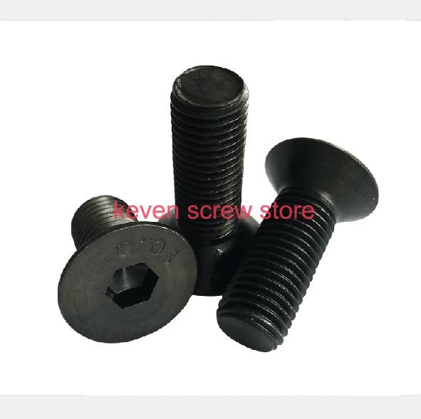 Free Shipping 100pcs M3x6 Mm M3*6 Mm Flat Head Countersunk Head Black Grade 10.9 Alloy Steel Hex Socket Head Cap Screw