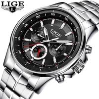 LIGE Waterproof Mens Watches Top Brand Luxury Quartz Business Watch Men Fashion Full Steel Clock Sport