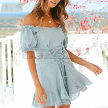 Cuerly 2019 summer cotton embroidery lace up dress women off shoulder boho beach mini L5