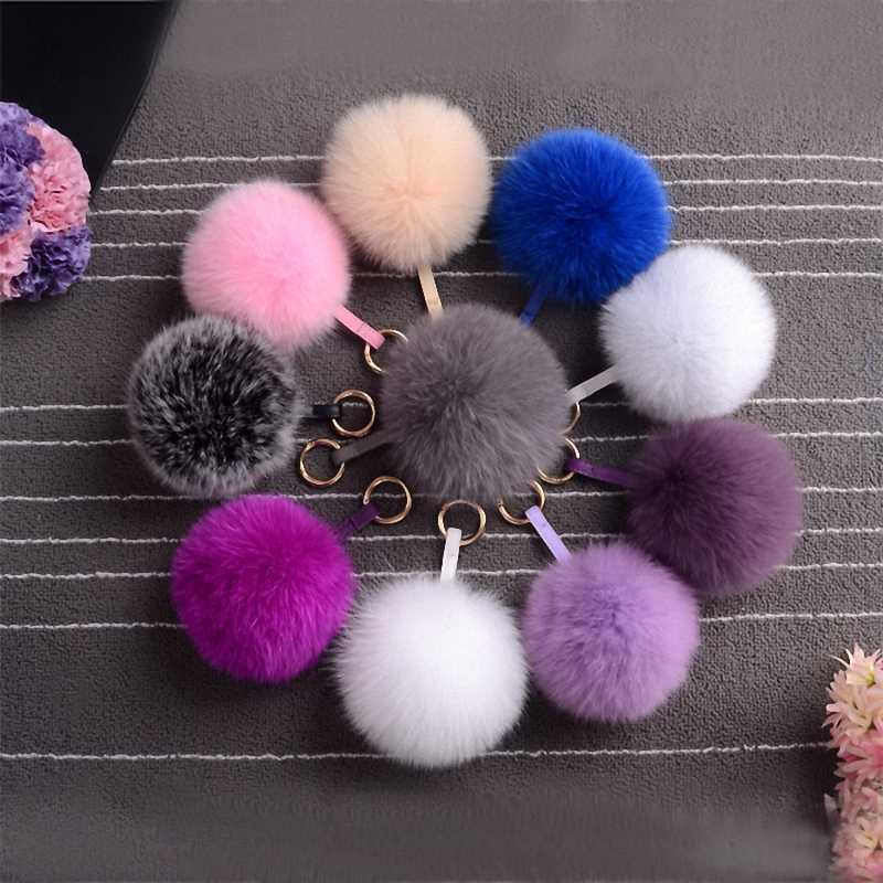 13-15 cm Fofo Luxo Real Tamanho De Pele Genuína Pele De Raposa Pom Pom Bola de Pelúcia Chave Da Cadeia de Anel de Metal pingente Charme Bag K010-purple