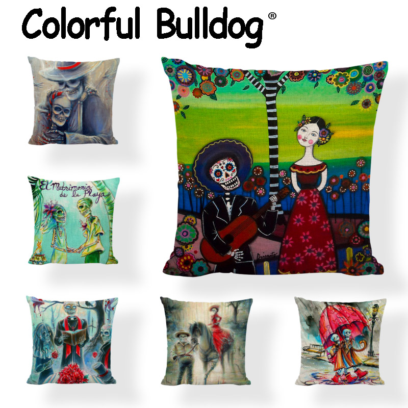 Sugar Skull Cushion Covers Mexican Style Flowers Wedding Gifts Printed Home Decor Gamer Chair Day Of The Dead Throw Pillows Case