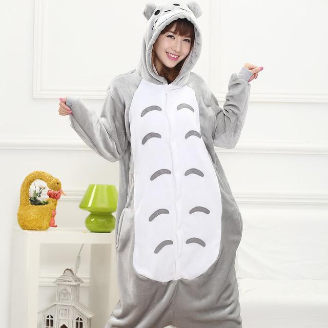 2016 Totoro Pijamas de Franela de Otoño e invierno de Dibujos Animados de animales para las mujeres adultas Con Capucha pijama