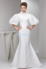 free shipping 2013 plus size floor length small train formal long sleeve white mermaid Mother of the Bride Dress jacket