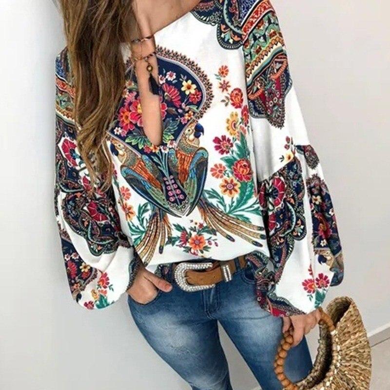 2019 Women Plus Size Ethnic Style Bohemian   Blouse     Shirt   Casual Printed Boho   Blouses   Elegant Sexy V Neck Beach Blusas