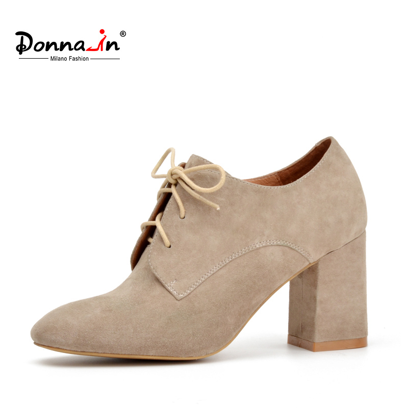 Donna-in 2018 natural color kid suede ladies shoes classic fashion lace-up high heel women Shoes square toe thick heel pumps