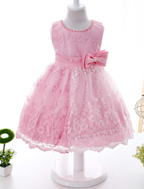 03d62c96f2fab First Year Baby Newborn Christening Dress Embroidery Flower Pattern Infant  Toddler Sleeveless Dress With Beading Bow for Baptism-in Dresses from ...
