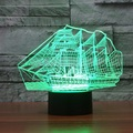 Creative 3D лампа Сенсорный Выключатель LED 7 цвет Большой корабль изменение зрительных иллюзий светлая спальня свет USB настольная лампа как подарок IY803434
