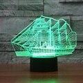 Criativo 3D Interruptor de Toque lâmpada LED 7 mudança de cor Grande navio ilusão visual luz luz USB lâmpada de mesa do quarto como presente IY803434