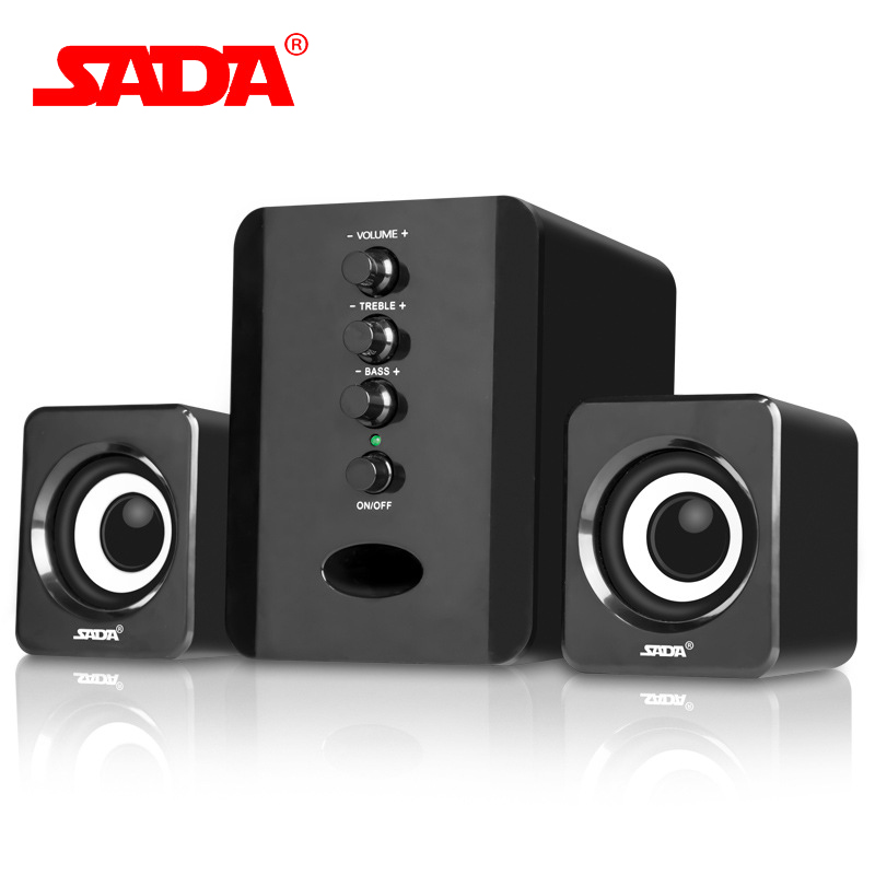 SADA D-202 Multifunction Surround Mini 3D Subwoofer Stereo Bass PC USB Speaker Computer Speakers for iPhone Samsung Phone Laptop